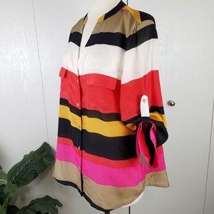 Anthropologie Maeve stripe 100% silk blouse small